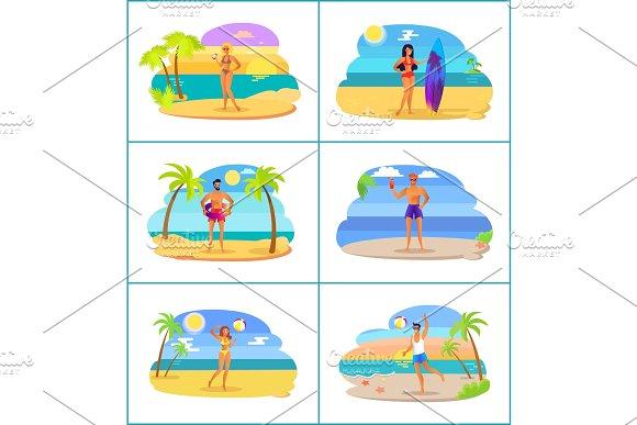 Men And Women In Swimwear At Tropical Beaches Set