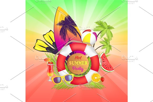Hot Summer Party Banner Text Vector Illustration