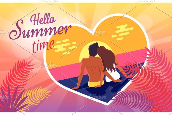 Hello Summer Time Poster With Couple In Love On Beach