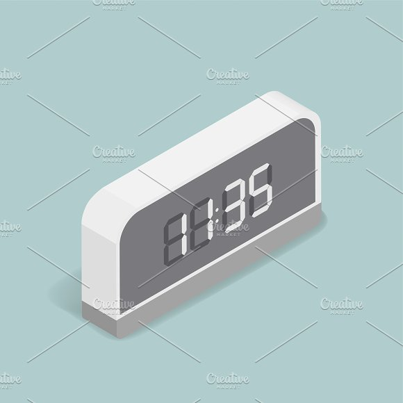 Vector Image Of Digital Alarm Clock