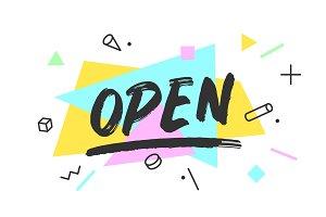 Open. Banner, speech bubble