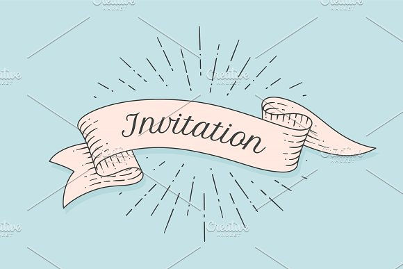 Invitation Old Ribbon Banner