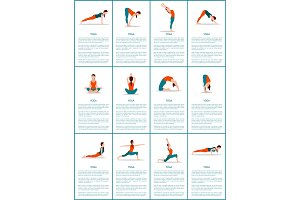 Yoga Set of Different Positions, Colorful Poster