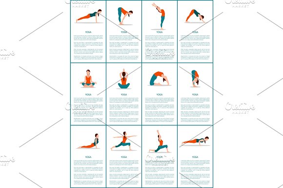 Yoga Set Of Different Positions Colorful Poster