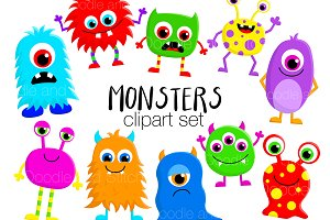 Cute Monster Clipart Illustrations