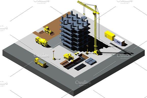 Construction Site Vector Isometric