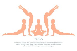 Yoga Silhouette Poster Text Vector Illustration