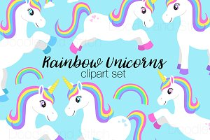 Rainbow Unicorn Clipart Designs
