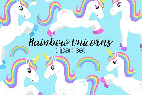 Rainbow Unicorn Clipart Designs