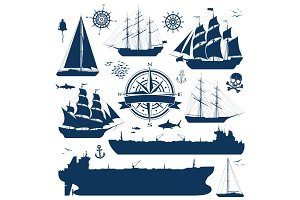 Set of sailing ships, yachts and tankers