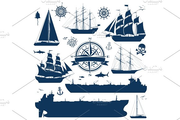 Set Of Sailing Ships Yachts And Tankers