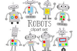 Cute Robots Clipart Illustrations