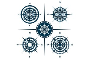 Set of compass roses (EPS, PSD, JPG)
