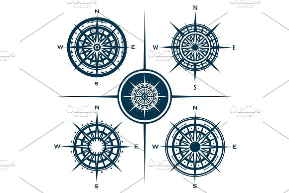 Set Of Compass Roses