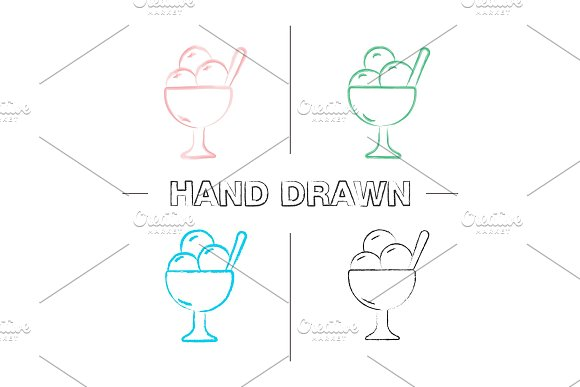 Ice Cream In Bowl Hand Drawn Icons Set