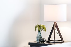 Contemporary bedside lamp with vase