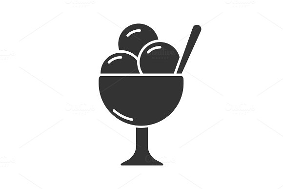 Ice Cream In Bowl Glyph Icon