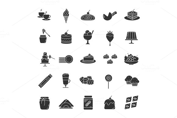 Confectionery Glyph Icons Set