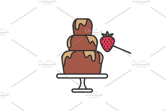 Chocolate Fountain And Strawberry Color Icon