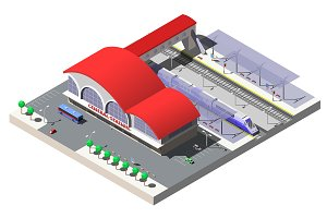 Railway Station, vector isometric