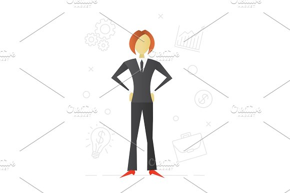 Businesswoman Flat Character Design