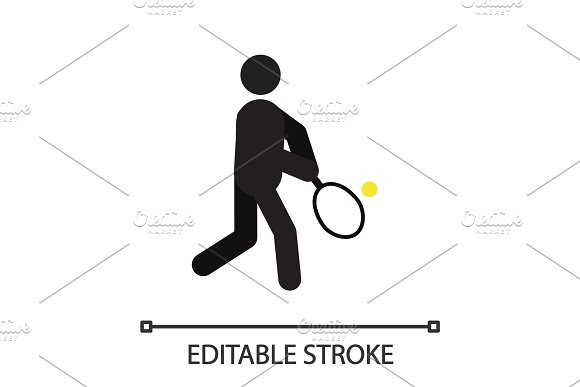 Person Playing Tennis Silhouette Icon