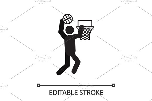 Man Playing Basketball Silhouette Icon