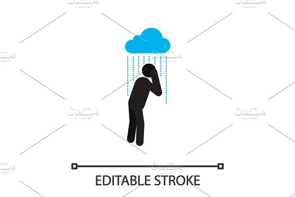 Man Standing Under Pouring Rain Silhouette Icon
