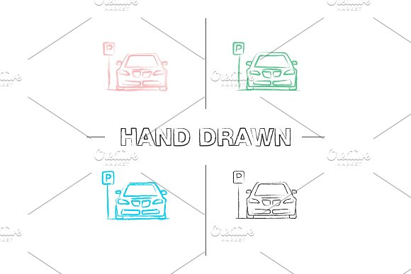 Parking Zone Hand Drawn Icons Set