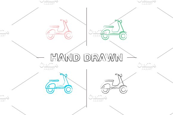 Scooter Side View Hand Drawn Icons Set