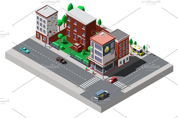 Vector Isometric City Street