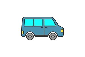 Minibus color icon