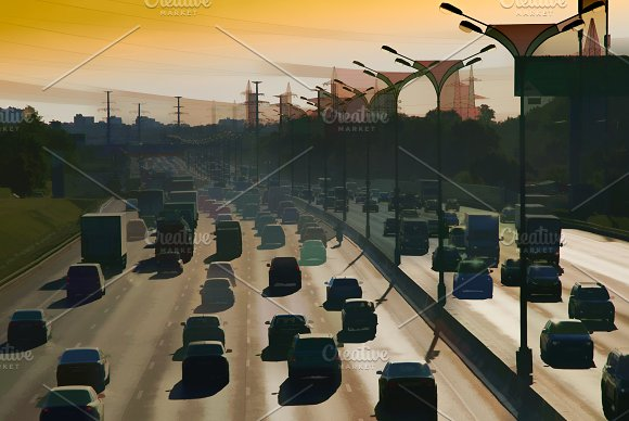 Moscow Traffic Jam Illustration Background