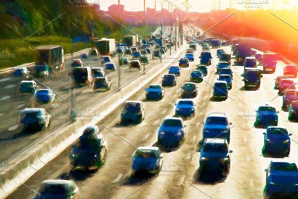 Moscow Traffic Jam Dramatic Light Leak Illustration Background