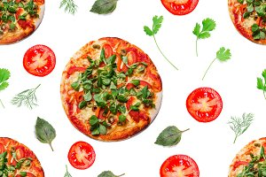Vegetarian pizza, seamless pattern