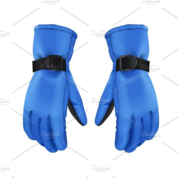 Pair Of Blue Sport Winter Gloves