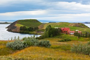 Icelandic Landscape with Cottage at