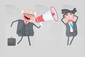 Boss shouting at businessman through