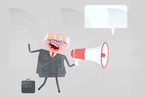Angry Boss Shouting On A Megaphone