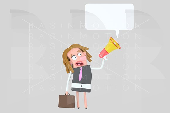 Business Girl Talking On A Megaphone