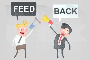 Business people giving positive feed