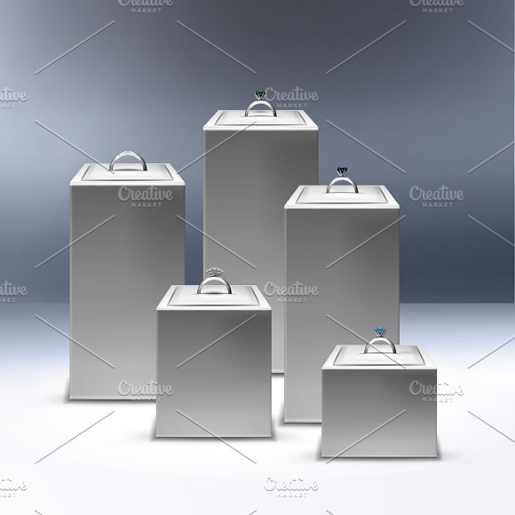 Showcase With Silver Rings