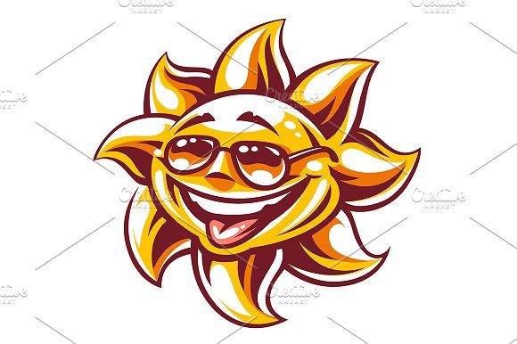 Happy Sun Vector Art 3 Versions