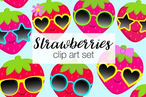 Strawberry Sunglasses Clipart Set