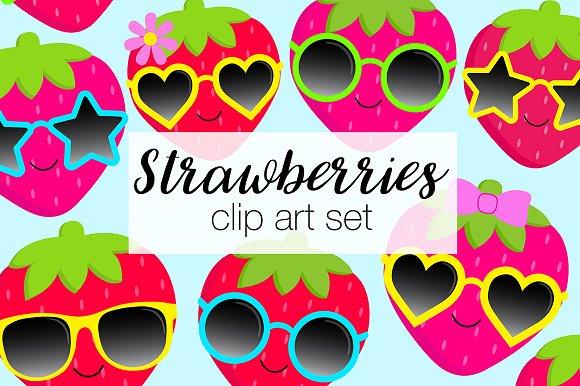 Strawberry Sunglasses Clipart Set