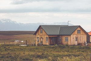 Wooden cottage in Iceland landscape