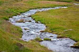 Iceland Landscape with Small River