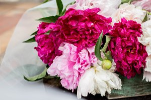 peonies with tulle and ribbons