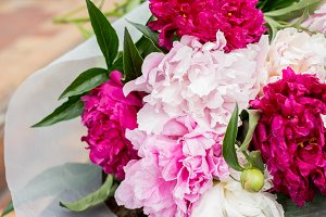 peonies with ribbons
