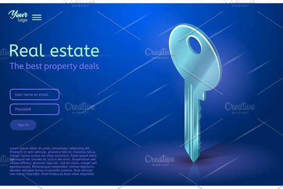 A Key Vector Illustration In Ultraviolet Colors Real Estate Concept